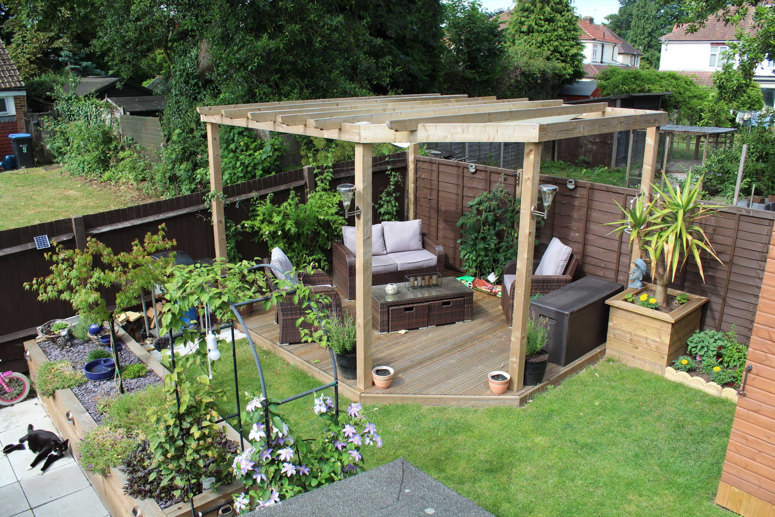 Pergola - This custom-made pergola finished the garden off nicely, this whole garden was done by us, fencing decking turf and growing planters